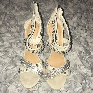 Not Rated: Strappy Studded Taupe Sandals